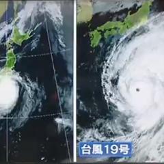 台風19号の大きさがシャレならないレベルだと話題に 台風15号と
